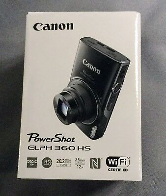 Brand New Canon PowerShot Digital Black Camera ELPH 360 HS w/ Battery & Charger