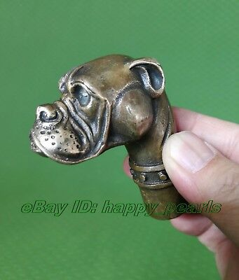 Antique Victorian Walking Stick handle Bronze Dog Head wand