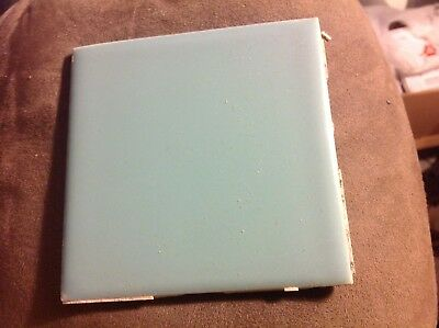 Vintage American  reclaimed ceramic tile 4 1/4 x 4 1/4 powder blue 50's.