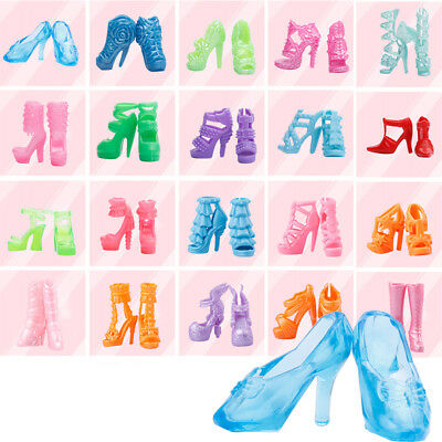 80Pcs/40Pairs Different High Heel Shoes Boot Fr Barbie  Doll Dresses Clothes