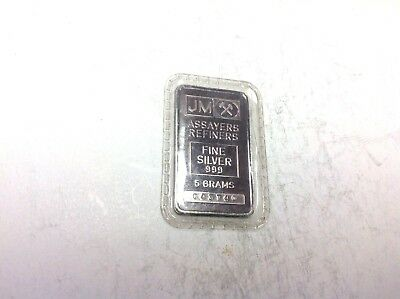 JM Assayers Refiners Fine Silver Bar 999 Five Grams 5-Grams Sealed