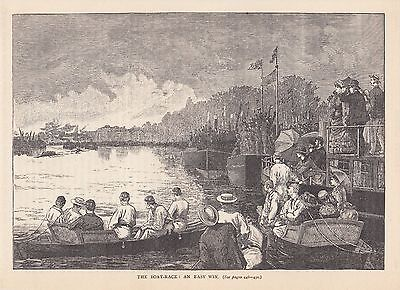University Boat Race. An Easy Win 1888 Old Antique Vintage Print Y.106