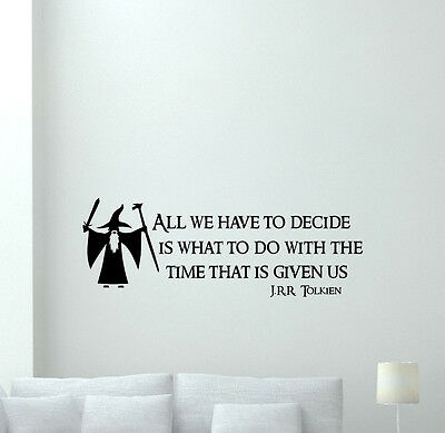 Lord Of The Rings Wall Decal Tolkien Quote Vinyl Sticker Home Movie Decor 176crt