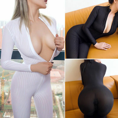 Hoch Elastisch Striped Bodystocking Overall Body Catsuit Langarm 2-way Zipper