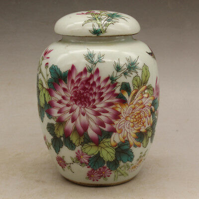Chinese old hand-made porcelain famille rose flower and bird tea caddy