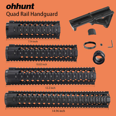 """Ohhunt 7"""" 10"""" 12"""" 15"""" Free Float Handguard Picatinny Rail with Angled Foregrip"""