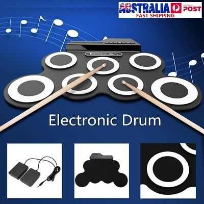 Portable Electric Drum Set Record Stick Pad Silicon Electronic Roll Up Kit 7 Pad