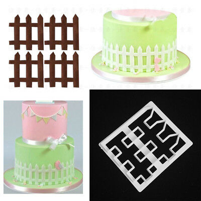 Cookies Cutter Fondant Cake Decorating Mold Tool Sugarcraft 3D Fence Mould DIY