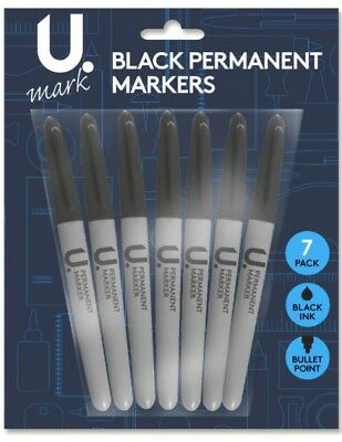 New Pack Of 7 Permanent Black Ink Marker Pens Bullet Point Home Office Student