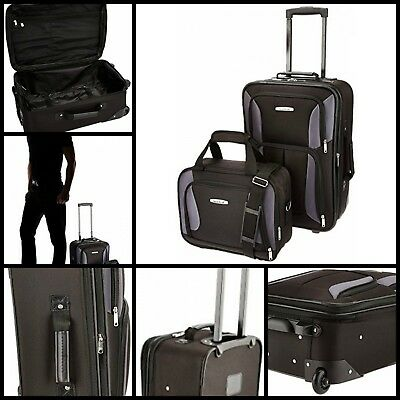 2 Pcs Lightweight Luggage Set Suitcase Bag Rolling Tote Tourist Travel Trips New