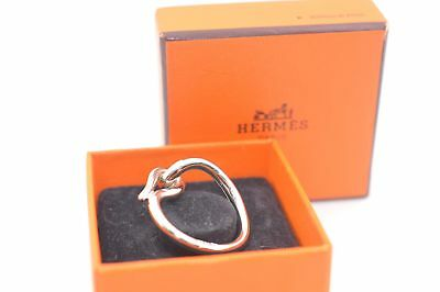 Authentic HERMES Scarf Ring Jumbo Hook Silver Tone 45125