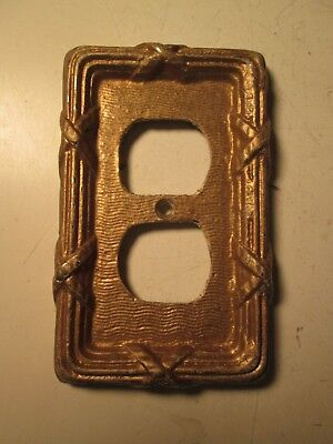 Vintage Heavy Brass Electrical Outlet Cover