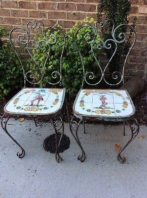Antique Garden Pair Portuguese Tile Seat Wrought Iron Chairs