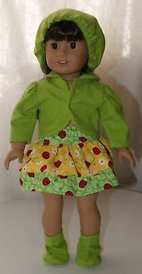 Homemade Short Ladybug Skirt Set, fits 18in American Girl Doll, Clothes
