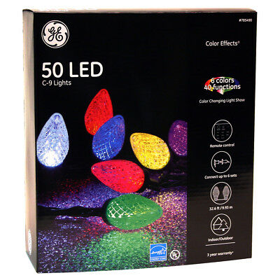GE Color Effects 50-Count Multi-Function Color Changing C9 LED Indoor/Outdoor