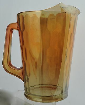 Jeannette Gold Marigold Carnival Glass Honeycomb Ice Lip Pitcher Vintage #1