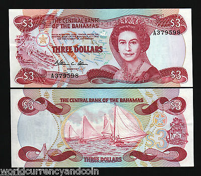 Bahamas 3 Dollars P44 1974 Queen Unc Running # Pair Boat Caribbean Gb Bank Note