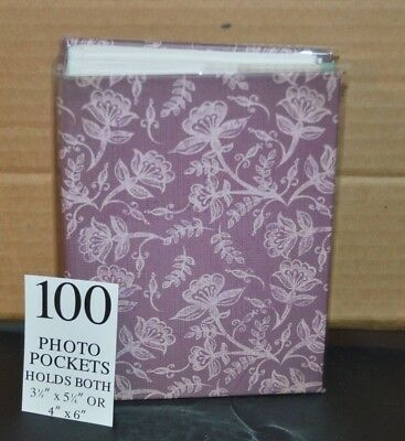 100 Book Bound Picture Photo Album ( PURPLE WITH WHITE FLOWERS )