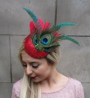 Red Green Blue Sequin Peacock Statement Feather Fascinator Races Ascot Hat 5004