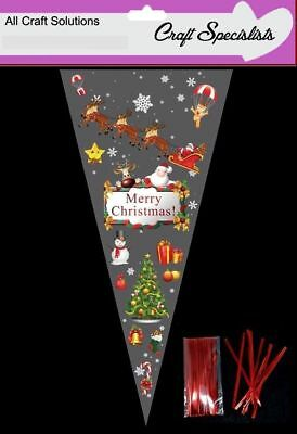 "10 - MERRY CHRISTMAS  Cone Cello Cellophane Sweet Party Bags With 4"" Ties"