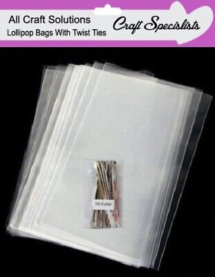 Clear Cello Cellophane Lollipop Bags / Display Bags/Cookies/Sweets With Ties