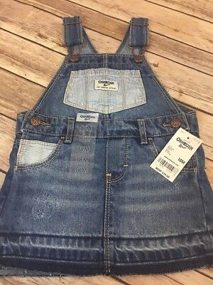 New With Tags Genuine Baby By Oshkosh Girls Denim Jumper Overall Skirt 18 Months