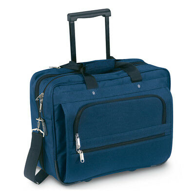 Blue Wheeled Laptop Carry Handle Briefcase Retractable Handle Zipped Closure New