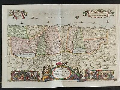 1693 Colored Biblical Map Middle East Lebanon Israel Palestine