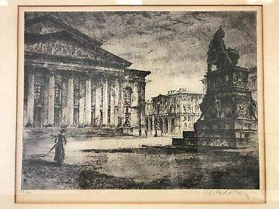 "Antique European 19TH century Etching Signed illegible ""Woman in the Square"""
