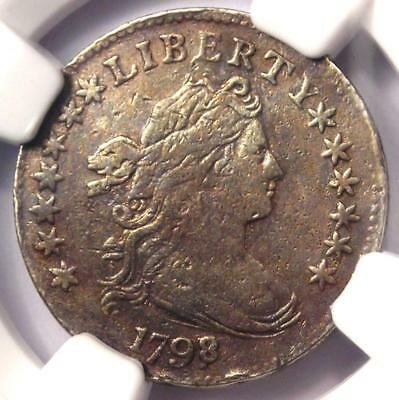1798/7 Draped Bust Dime 10C (16 Stars Reverse) - NGC VF Details - Rare Coin!
