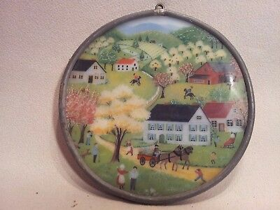 Antique Vintage Stained Glass Panel Round