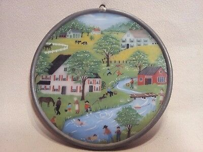 Antique Vintage Stained Glass Panel Round #3
