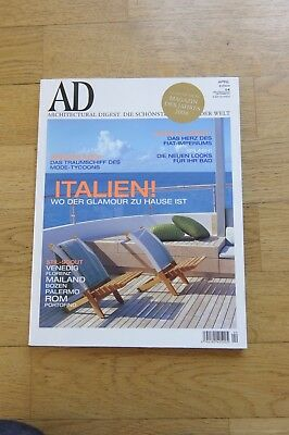 AD Architectural Digest April  2004 04/2004 Häuser der Welt Möbel Design Italien
