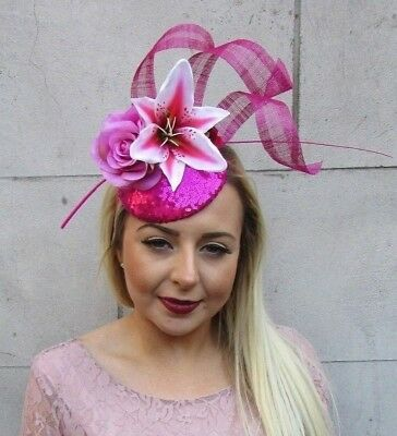 00ca790d Hot Light Pink Rose Lily Feather Flower Hair Fascinator Hat Races Ascot Vtg  5012