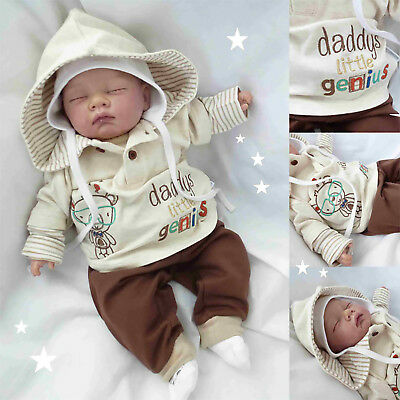 Baby Boys Hooded Top & Trouser Outfit - 'genius' (Newborn - 6 Months)