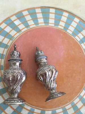 antique sterling silver salt and pepper shakers