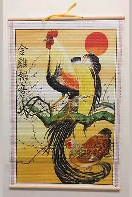 (Rooster) Paper Cane Wall Painting Art Scrolls