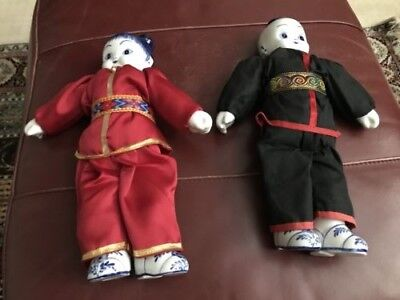 Chinese Boy & Girl Dollsw/Blue White Porcelain Head, Hands and Feet