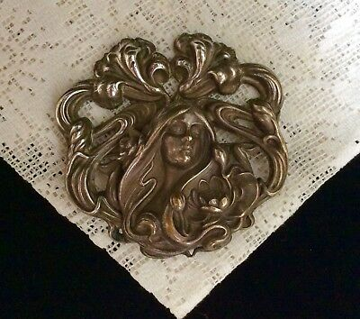 Early 1900's Art Nouveau Lady & Lotus Flowers Large Brooch in Brass~C clasp! Wow
