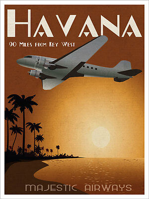 Havana Majestic Airways Plane Airplane Vintage Metal Sign