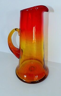 Vintage Blenko Tankard Pitcher Tangerine Red yellow 11x6