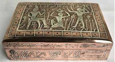 Vintage Egyptian Revival Sterling Silver Inlaid Copper Cigarette Box Wood Lined
