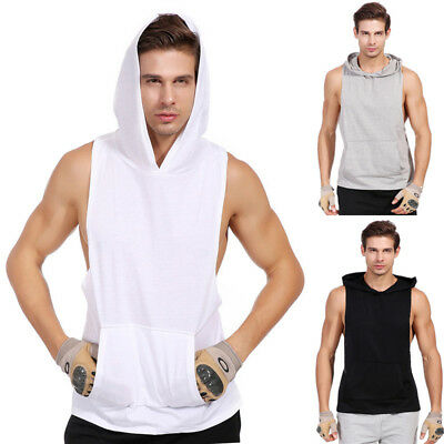 Mens Solid Sleeveless T-shirt Cotton Coat Muscle Slim Hooded Gym Vest Tank Tops