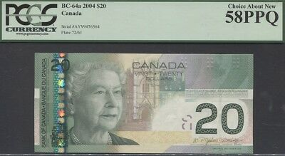 "TT PK BC-65a 2004 CANADA $20 ""QUEEN ELIZABETH II"" PCGS 58 PPQ CHOICE ABOUT NEW!"