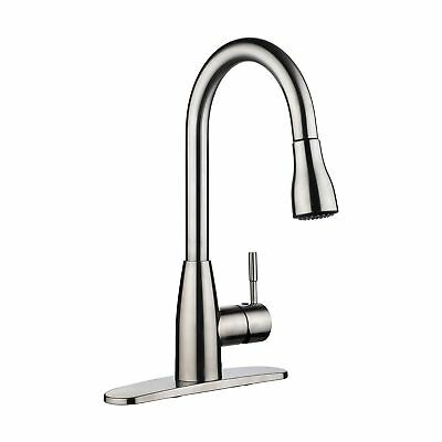 pH7 Single Handle Pull Down Sprayer Kitchen Sink Faucet Brushed Nickel Kitche...