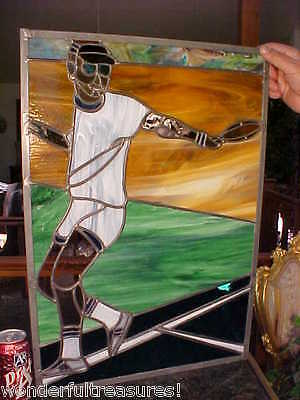 BEAUTIFUL Over 2' Tall HAND MADE Stained Glass Panel TENNIS or JAI ALAI Player!