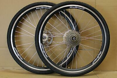 "QR 26"" MTB Bike Rim/Disc Brake Wheel Set 26""x1.50 Slick Tyre Rotor 6/7/8/9 Speed"