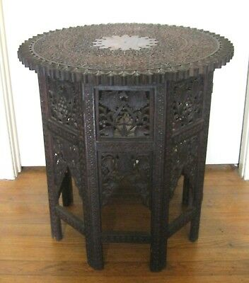 "Antique Eastern Hand Carved Wood Table~Intricate Flowers/leafs~Brown~21"" X 21"""