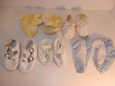 Vintage Lot Of Baby Booties Shoes Or For Composition Doll 1950S Blue Yellow