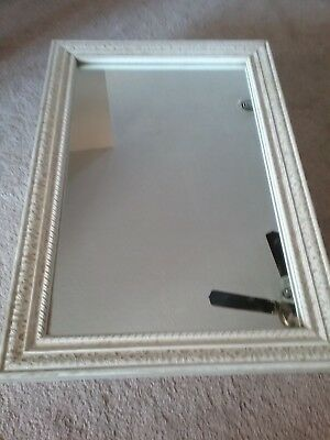 "Ornate Recessed Vintage 24"" × 16"" Framed Mirrored Medicine Cabinet Antique White"